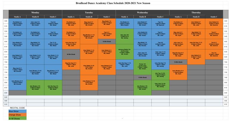 2020-2021 Recital Schedule